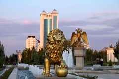 The fountain complex in the park. Turkmenistan. The fountain complex in the park. Ashkhabad. Turkmenistan stock photos