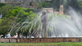 Fountains in park, Corfu, Greece. Fountains in park during summer in Corfu, Greece Stock Photos