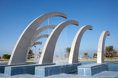 Fountain at the corniche in Abu Dhabi. United Arab Emirates Royalty Free Stock Photo