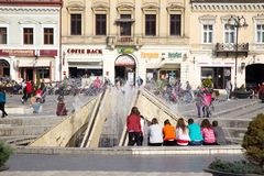 The fountain in Council Square, Brasov Royalty Free Stock Image