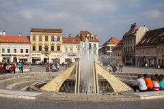 The fountain in Council Square, Brasov Royalty Free Stock Photo