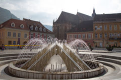 The fountain in Council Square, Brasov Stock Photos