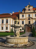 The fountain on the court. Of the chateau Jemniste in Czech Republic stock photo