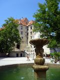 Fountain in Courtyard, Cesky Krumlov Castle, Czech Republic Royalty Free Stock Photography