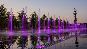Fountain in the Crimean Embankment, Moscow, Russia.  Royalty Free Stock Photos