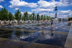 Fountain on the Crimean Embankment, Moscow, Russia Stock Image