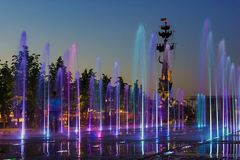 Fountain in the Crimean Embankment, Moscow, Russia Royalty Free Stock Photos