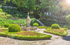 Fountain in the Cristal Palace Gardens. Porto, Portugal stock image