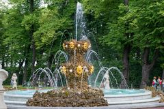 Fountain Crown in the Summer garden. SAINT PETERSBURG, RUSSIA - AUGUST 18, 2017:  Fountain Crown in the Summer garden. This park is one of the oldest in Saint Royalty Free Stock Images