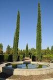 Fountain and cypress trees in Park Stock Photos