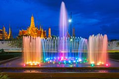 Fountain dance show in front of Wat Phra Kaew at Bangkok City, Temple of the Emerald Buddha in Bangkok. Thailand Royalty Free Stock Images