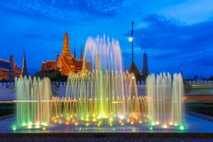 Fountain dance show in front of Wat Phra Kaew at Bangkok City, Temple of the Emerald Buddha in Bangkok. Thailand Royalty Free Stock Photo