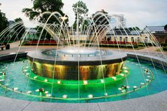 Fountain dancing with music and changing colors in Druskininkai city Stock Photo