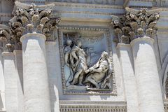 The statues on beautiful Trevi Fountain stock photos