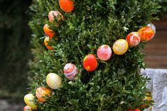 Fountain decorated Easter eggs Royalty Free Stock Image
