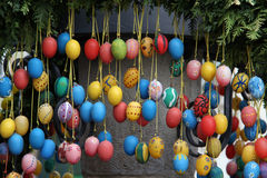 Fountain decorated Easter eggs Stock Images