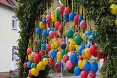 Fountain decorated Easter eggs. / Well decorated Easter eggs Stock Photos