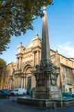 Fountain des Precheurs en Madeleine Church royalty-vrije stock afbeeldingen