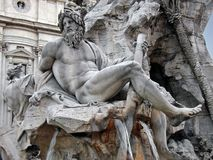 Fountain detail in Piazza Navona. Details of the Fontana Dei Quattro Fiumi in Piazza Navona (Rome - Italy Royalty Free Stock Photos