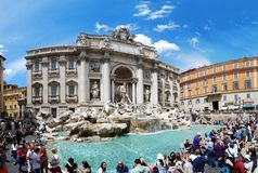 Fountain di Trevi - most famous Rome's place Stock Images