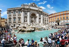 Fountain di Trevi - most famous Rome's place Royalty Free Stock Photography
