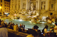 Fountain di Trevi at night, Rome, Italy. Famous fountain Trevi, Roma, Italy Royalty Free Stock Photography