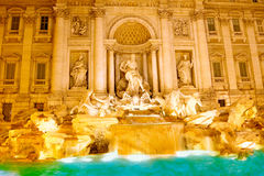 Fountain di Trevi .Night scene. Rome Stock Photos