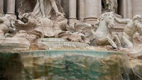 Fountain di Trevi in Rome, Italy. Close up, Dolly shot. Slow Motion. Down to up stock footage