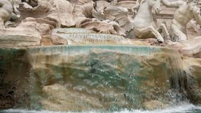 Fountain di Trevi in Rome, Italy. Close up, dolly shot. Slow motion. Up to down stock video footage