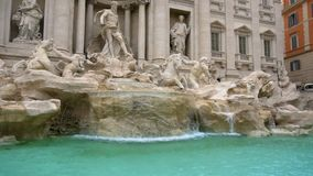 Fountain di Trevi in Rome, Italy. Slow Motion. Left. Fountain di Trevi in Rome, Italy. Slow Motion, Left corner stock video footage