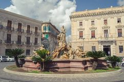 THE FOUNTAIN OF DIANA IN SYRACUSE AND ARETHUSA'S METAMORPHOSIS stock image