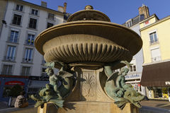 Fountain of the Dolphins in Grenoble center Stock Image