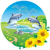 The fountain of the dolphins. Landscape with a fountain with dolphins Royalty Free Stock Photos