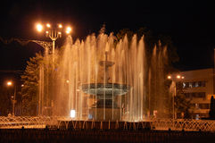 The fountain. In Donetsk in artificial lighting at night Stock Photography