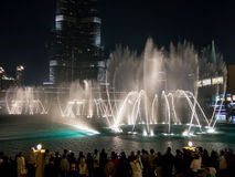 The Fountain in Downtown Dubai at night Stock Images