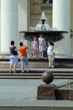 Fountain in downtown Moscow. Water jet. Near the Big Theatre Stock Photo