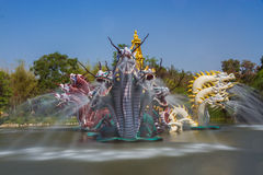 The fountain of dragons in Ancient Siam Stock Image