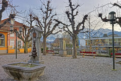 Fountain with Drinking water in Old City of Thun Embankment Royalty Free Stock Image