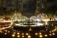Fountain in Dubai Marina at night Royalty Free Stock Photography