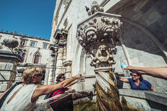Fountain in Dubrovnik. Dubrovnik, Croatia - August 26, 2015. Small Onofrio's Fountain at Luza Square on the Old Town of Dubrovnik city, Croatia Royalty Free Stock Photo