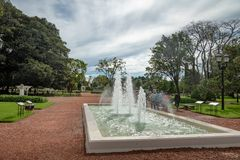 Fountain at El Rosedal Rose Park at Bosques de Palermo - Buenos Aires, Argentina royalty free stock photos