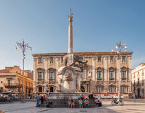 The fountain of Elephant on the Cathedral Square in Catania, Sicily, Italy Stock Photography