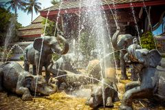 Fountain of elephants statues in a garden, Koh Royalty Free Stock Images