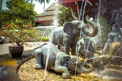 Fountain of elephants statues in a garden, Koh Stock Image