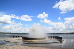 The fountain on the embankment. Of the River Dnieper in the city of Dnipropetrovsk in Ukraine Stock Photography