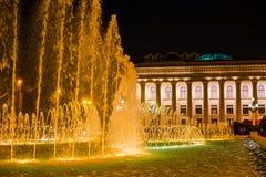 Fountain on the embankment in Baku city. National Seaside Park in Baku city. Night  city Royalty Free Stock Photos