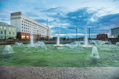 Fountain on embankment of Tomsk in summer Royalty Free Stock Photos