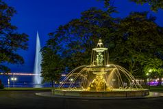 Fountain at the English garden, Geneva. Fountain at the English garden by night in Geneva, Switzerland, HDR royalty free stock photos