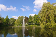 Fountain in Essen. Gardens and fountain under the clear sky of Essen, Germany Royalty Free Stock Photos