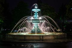 The fountain of the Europe park at night. royalty free stock photo